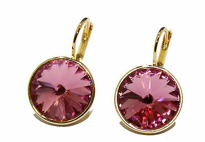 3f3a9f83d85c6b Swarovski Elements Rose Pink Bella Earrings Gold Plated Dangle Earrings