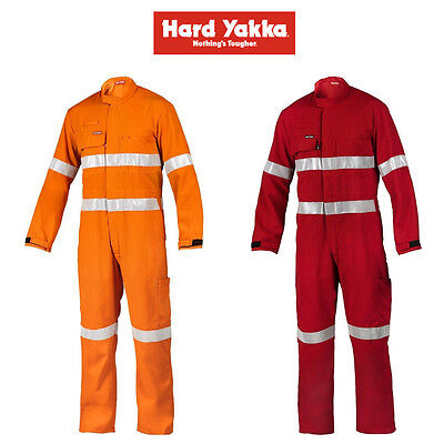 Mens Hard Yakka Protect Hi-Vis Tape Work Tecasafe Plus Coverall Safety FR Y00308