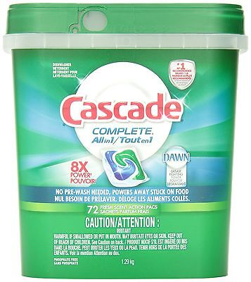 Cascade Complete All-in-1 ActionPacs Dishwasher Detergent Fresh Scent 72 Coun...
