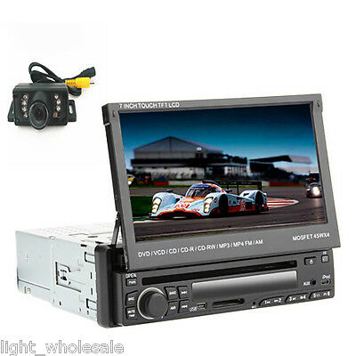 """Free Camera+Touch Screen Single 1Din 7""""Flip Down Car Stereo DVD Radio Mp3 Player"""