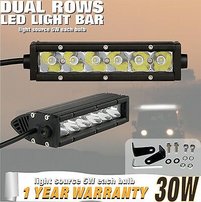 2PCS 30W Spot 7INCH Single Row CREE LED OFFROAD Light Bar LAMP UTE 4X4WD Jeep