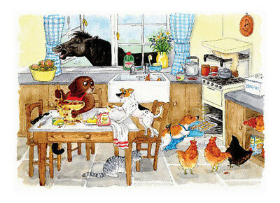 Tuftop Too Many Cooks Animal Worktop Saver 40x30cm Glass Chopping Board Trivet