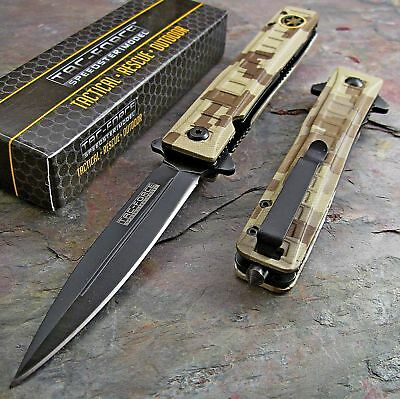 TAC FORCE Special Forces Spring Assisted Open DESERT TAN CAMO Pocket Knife NEW!