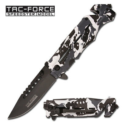 TAC-FORCE Assisted Opening HIGH CARBON SNOW CAMO Glass Breaker Rescue Knife NEW!