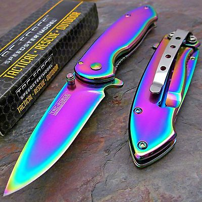 TAC-FORCE Spring Assisted Open RAINBOW SPECTRUM TITANIUM Folding Pocket Knife!!