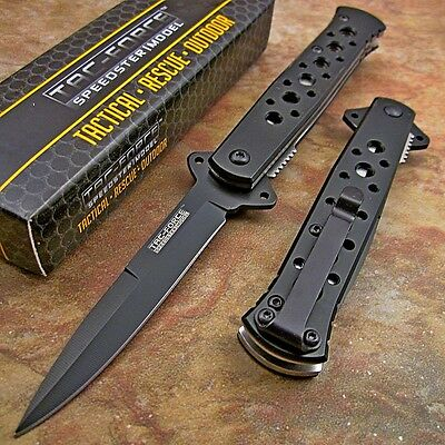 TAC-FORCE Spring Assisted Open BLACK Stiletto TACTICAL Folding Pocket Knife NEW!