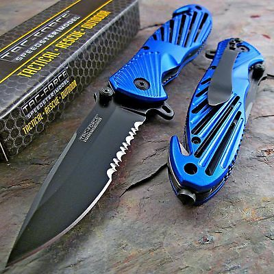TAC-FORCE Assisted Opening Speedster BLUE High Carbon Rescue Glass Breaker Knife
