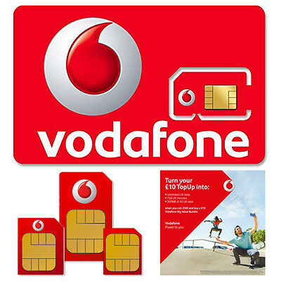 PAYG Pay As You Go Vodafone Standard Micro Nano SIM Card Number for Mobile Phone