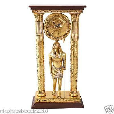 ANCIENT Amun Royal Egyptian GOD HORUS CITY OF kARNAK SCULPTURAL CLOCK