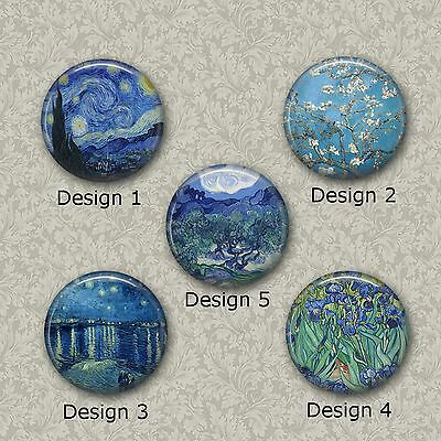 5 x 25mm Van Gogh Glass Or Resin Cabochons for Jewellery Making 2 Different Sets