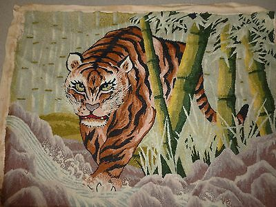 "Vintage Finished Completed Knots Tiger Crewel Embroidery 24""x 19"" Beautiful"