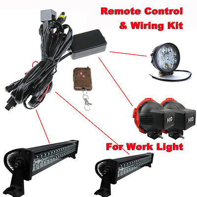 Universal LED Offroad Work Light Bar Remote Control Wiring Harness & Switch kit