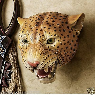 African Wildlife Leopard Sculpture Trophy Head Jungle Cat Spotted Coat