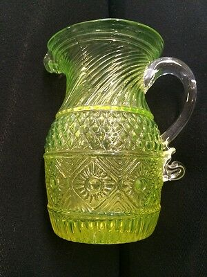 """Imperial Vaseline Glass Small Pitcher 4.5"""" Metropolitan Museum Of Art"""