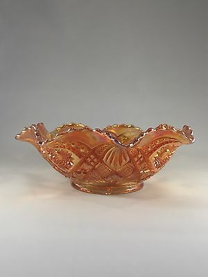 Vintage Orange/Peach Carnival Glass Bowl Hobstar & Arch Pattern