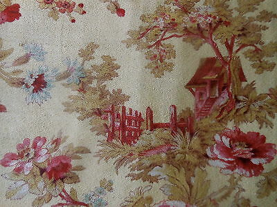 Antique French Country Cottage Roses Floral Cotton Fabric ~Pink Yellow Blue # 1
