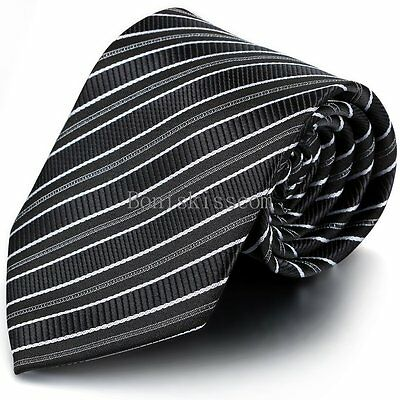 New Classic Gray&Black Striped Tie WOVEN JACQUARD Silk Men's Suits Ties Necktie