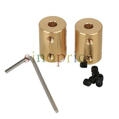 2pcs 5 x 8mm Golden Brass Coupling Rigid Shaft Coupling Motor Accessories