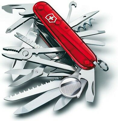 """Victorinox Swiss Army Knife Swiss Champ 91mm 33 Functions Ruby Handle 3½"""" Closed"""