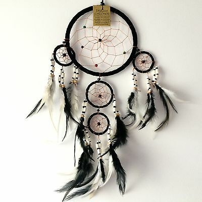 New Black With Wooden Bead Traditional Dream Catcher Native American Mobile, 654