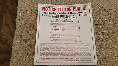 Liquor Sign 1972 Government Issue Seating Capacity Liquor Price Rule For Offsale