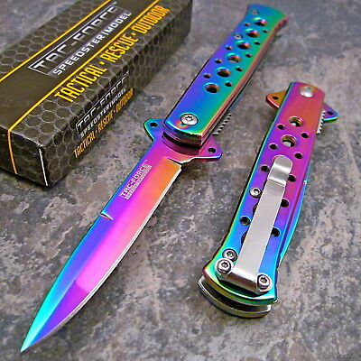 TAC FORCE Rainbow Spectrum STILETTO Spring Assisted Open Folding Pocket Knife