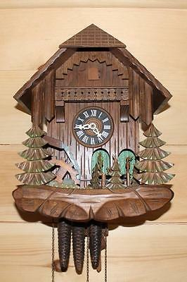 Animated Black Forest Cuckoo Clock ~ Rustic Chalet ~ Woodlands ~ Waterwheel