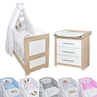 babyzimmer babybett kinderbett wickelkommode sonoma wei. Black Bedroom Furniture Sets. Home Design Ideas