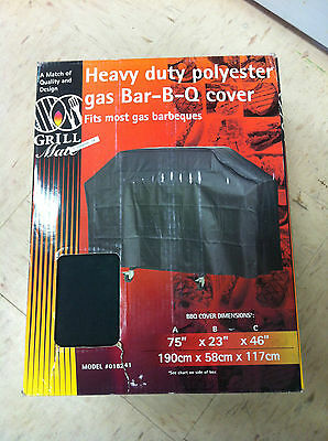 Grill Mate 018241 HEAVY DUTY POLYESTER GAS BBQ BARBECUE COVER 75X23X46 black NEW