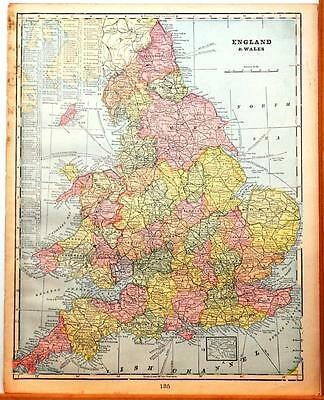 Beautiful Original 1899 England & Wales Large Color Map/11x14