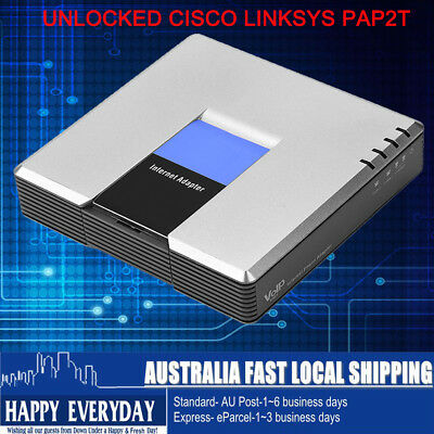 AU UNLOCKED LINKSYS CISCO PAP2T-NA PAP2T VOIP PHONE Adapter 2 Port SIP Gateway