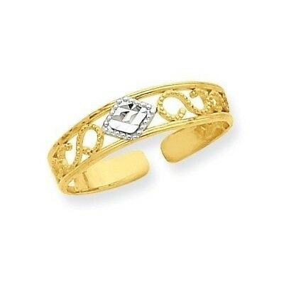 14k Yellow Gold Diamond-Cut Scrolled Band Adjustable Toe Ring  0.57 gr