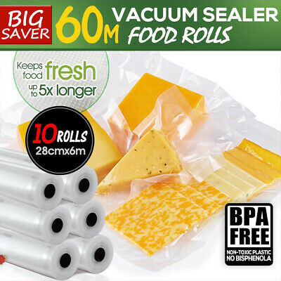 10x Vacuum Food Sealer 6Mx28cm Roll Bags Saver Seal Storage Commercial