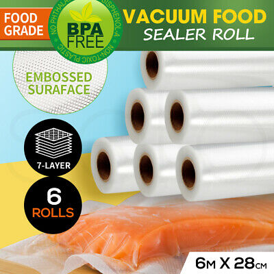 6 X Vacuum Food Sealer Rolls Saver Seal Bag Storage Commercial Heat Grade 28Cm