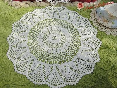 "Hand Crochet Lace Doily~15"" Round~White~Pineapple Motif~Wedding/Tea Party/DIY~"