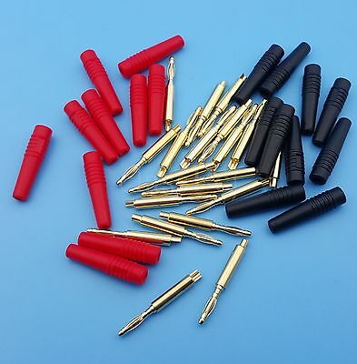 10Pairs 2mm Red and Black Male Gold Plate Banana Plug Connector