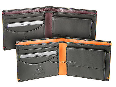 Visconti Mens Bifold Slim Leather Wallet For Credit Cards, Notes & Coins - AP62