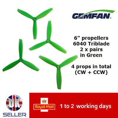 "Gemfan Propellers Props 6"" 6040 Tri Blade ABS 3 Leaf x4 2 Pairs Green 250 UK"