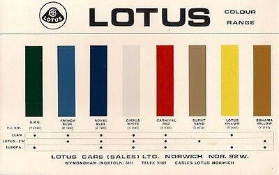 Lotus Exterior Colours 1969-70 UK Market Leaflet Brochure Elan +2S Europa