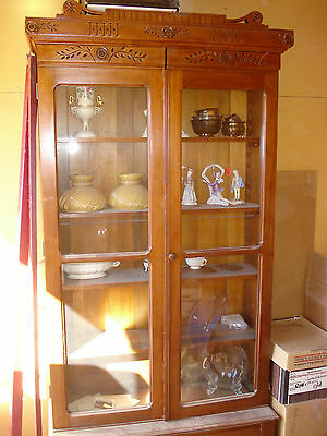 Victorian Eastlake 1875 Carved China Cabinet, Cupboard or Bookcase Butternut