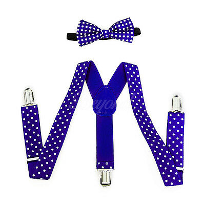 Royal Blue Polka Dots Suspender and Bow Tie Set for Baby Toddler Kids (USA)