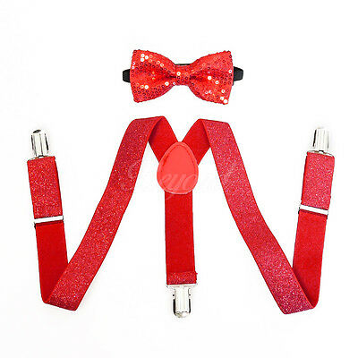 Red Glitters Suspender and Bow Tie Set for Baby Toddler Kids Boys Girls (USA)