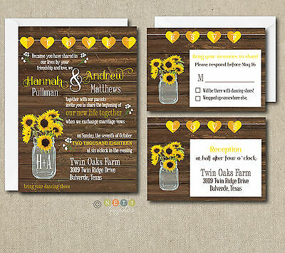 100 PERSONALIZED RUSTIC Sunflower Wedding Invitation Set with ...