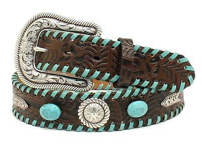 Nocona Western Womens Belt Leather Floral Embossed Turq Laced Brown N320000402