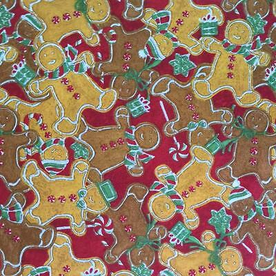 Christmas holiday gingerbread cookie candy cane funky cute cotton fabric 1/2 Yd