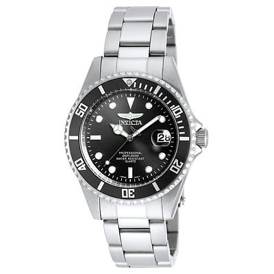 Invicta Men's Black Dial Watch Pro Diver Stainless Steel Bracelet Dive Watch