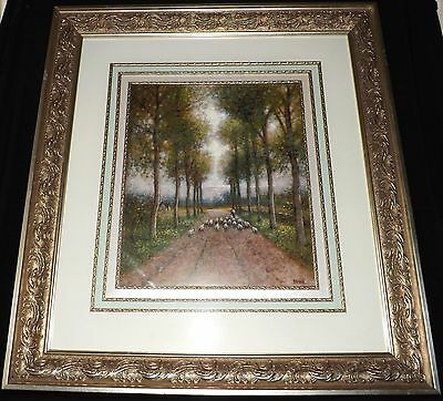 """Sensational Silver Gesso Ornate Frame LARGE w/ Print Thick & Heavy 34"""" x 31"""""""