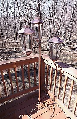 Rare 1930's Antique Solid Copper Victorian Style Garden Gazebo Lamp Original