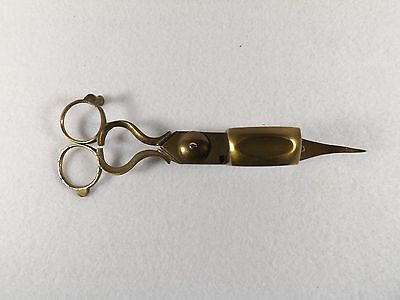 Antique Brass Candle Wick Trimmer & Candle Snuffer Scissors Spring & Riveted