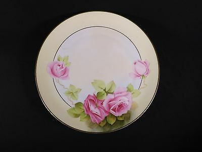 HAND PAINTED Large Plate Beautiful ROSES BAVARIAN GERMAN Charger Artist Signed